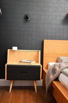 retro modern bedroom, restored night tables