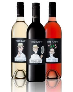 """Because everyone needs a little Therapy…Freudian Sip (2012), Freud's Ego (2012), Pink Freud Rosé (2013). Buy your wine """"prescription"""" from Therapy Vineyards and have it shipped straight to your door."""