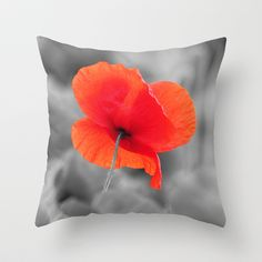 Poppy black and white photography with red splashes of color Throw Pillow by Tanja Riedel - $20.00