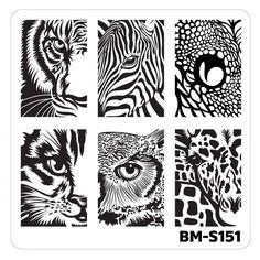 Nail Art Stamping Plates-Fuzzy and Ferocious - BM-S151, Wild Eyes