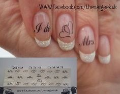 Wedding day/ hen night nail tattoos/ nail decals /nail transfers in Health & Beauty, Nail Care, Manicure & Pedicure, Nail Art Accessories French Nails, French Manicure Nails, Manicure And Pedicure, Manicure Ideas, Wedding Day Nails, Wedding Nails Design, Wedding Nails For Bride Natural, Wedding Makeup, Wedding Manicure