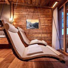 ◇Home Spa Bath◇ Swinging Loungers in sauna anti-room Home Spa Room, Spa Rooms, Sauna House, Sauna Room, Sauna Design, Relaxation Room, Relax Room, Saunas, Bungalows