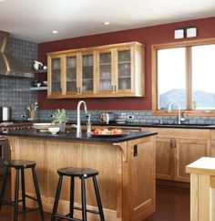 Transitional L-shaped Red kitchen, cabinets, Kathryn Rogers,
