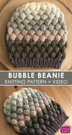 Bubble Stitch Beanie Hat Knitting Pattern by Studio Knit. 3da6a084b54