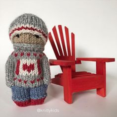 """Gudrun Dahle on Instagram: """"🇨🇦 ❤️ It's almost Canada Day, so it's time to make a knitty kid wearing a little Canadian flag. ❤️ 🇨🇦 . ($30 CAD plus shipping. Swipe for…"""" Knitted Doll Patterns, Knitted Dolls, Knitting Patterns, Crochet Patterns, Knitted Animals, Canada Day, Pattern Illustration, Cute Characters, Pet Toys"""