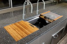 The Galley Ideal Workstation 5 large stainless steel kitchen sink.