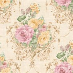 Purple and Yellow Harpina Floral Wallpaper, SBK26881