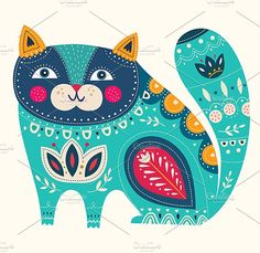 Illustration of Beautiful decorative vector cat in blue color vector art, clipart and stock vectors. Cat Clipart, Cat Vector, Vector Art, Scandinavian Folk Art, Photo Chat, Blue Cats, Cat Drawing, Cat Art, Fine Art Prints