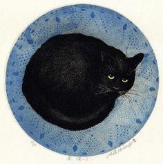 Hiroto Norikane (Japan, b. - Black cat in blue bed I Love Cats, Crazy Cats, Cool Cats, Black Cat Art, Black Cats, Black Cat Painting, Black Kitty, Here Kitty Kitty, Cat Drawing