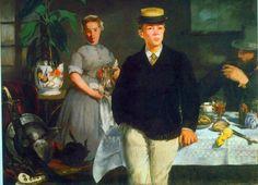 Reproduction de Manet, Le Déjeuner Dans l'Atelier. Tableau peint à la main dans nos ateliers. Peinture à l'huile sur toile.