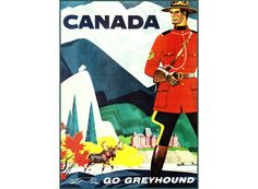 Canada Go Greyhound 1950 Vintage Poster Art Print Retro Style Bright Background, Poster Prints, Art Prints, Artist Canvas, Retro Style, Vintage Posters, Retro Fashion, Art Gallery, Canada