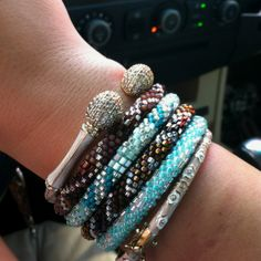 Lauren G Adams and Lily and Laura bracelets :) I have the one closest to her hand