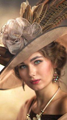 Fashion Illustration Vintage, Beautiful High Heels, Fancy Hats, Foto Art, Victorian Women, Retro Hairstyles, Portrait Inspiration, Woman Painting, Photography Women