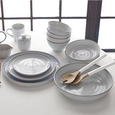 flow dinnerware - 4 dinner plates 32; 4 cereal bowls 24