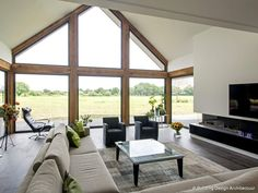 Glasfassade © Building Design Architecture - Hints for Women Building Design, Building A House, Interior Desing, Bungalow House Design, Home Living Room, Home Fashion, Great Rooms, Future House, Architecture Design