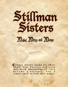 """Stillman Sisters"" - Charmed - Book of Shadows"