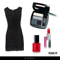 Clásico vestido negro con sugerencias de make up AVON