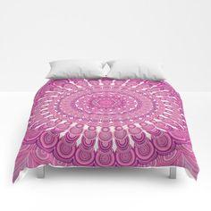 Pink Oval Mandala Comforter  #bedroom #roomdecor