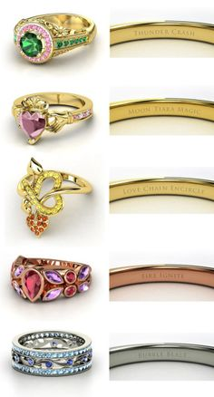 steelcandy:  Sailor Moon engagement rings!Sailor JupiterSailor MoonSailor VenusSailor MarsSailor Mercury (made onhttp://www.gemvara.com)