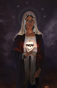 Immaculate Heart of Mary, Kim Vandapool – 2011 This piece started as a drawing, then was digitally painted using Photoshop.