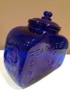 PLANTERS PEANUT cobalt blue glass Pennant salted peanut cookie jar. $35.00, via Etsy.
