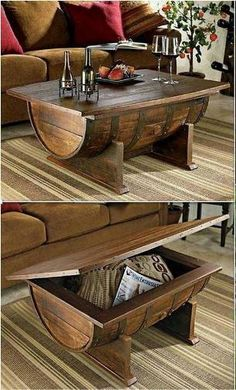 This is not just a stylish coffee table its also a spacious storage for keeping miscellaneous items in the living room Learn how to build a wine barrel coffee table by he. Pallet Furniture, Rustic Furniture, Furniture Projects, Wine Barrel Furniture, Furniture Stores, Industrial Furniture, Vintage Furniture, Wood Projects, Craft Projects
