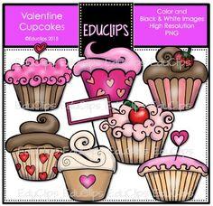 FREE Valentine Cupcakes Clip Art Bundle
