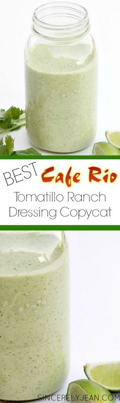 The Best Tomatillo Ranch Dressing Cafe Rio Copycat had to modify for ingredients on hand since I wanted it tonight. I only did mayo, subbed a can of green chilies for the salsa verde, added 6 tomatillos, and a jalapeno with no seed. It is delicious. Cafe Rio Recipes, Restaurant Recipes, Mexican Food Recipes, Copycat Recipes, I Love Food, Good Food, Yummy Food, Tasty, Yummy Recipes