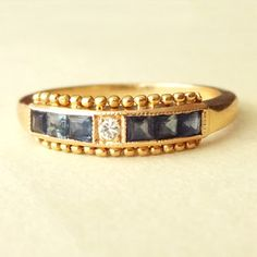 Victorian Sapphire & Diamond Eternity Ring Antique by luxedeluxe, $328.00