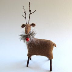 Handmade Wool Reindeer, Hand Sewn, Wool Reindeer, Holiday Decor, Christmas Decoration, Freestanding