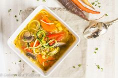 Delicious soup filled with zucchini noodles, summer squash noodles, tomatoes, carrots, onions, and corn. This Farmer's Market Vegetable Noodle Soup is filled with fresh ingredients bought straight from the Farmer's Market.