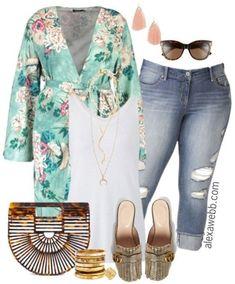 Plus Size Spring Kimono Outfit - Plus Size Outfit Idea - Plus Size Fashion for Women - alexawebb.com #alexawebb