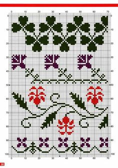 Cross-stitch Borders ... no color chart available, just use pattern chart as your color guide.. or choose your own colors... randen