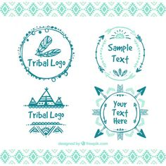 Hand drawn tribal logos Free Vector
