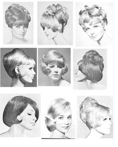 60s 1960 Hairstyles, Vintage Hairstyles For Long Hair, Haircuts, Retro Outfits, Vintage Outfits, Rouge Makeup, Pelo Vintage, 1960s Hair, Beehive Hair