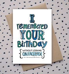 Hand drawn type, doodle, birthday card, funny