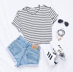 4eaa9ed345bf black and white striped crop top + light washed high waisted shorts + adidas  sneakers Cute