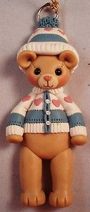 New Handmade Polymer Clay Christmas Bear with Sweater Ornament | eBay