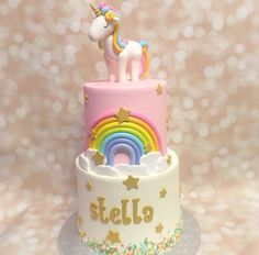 Rainbow cake for Stella 5th Birthday Cake, Rainbow Birthday, Unicorn Birthday Parties, Unicorn Party, Unicorn Rainbow Cake, Unicorn Cakes, Rainbow Desserts, Daisy Cakes, Pony Cake