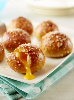 Easy-to-make, Stuffed Pretzel Buns are always a hit at football parties and with the kids.