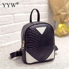 $22.24 - Black Alligator Leather Backpack (FREE SHIPPING) Small Backpack, Mini Backpack, Leather Backpack, Small Bags, School Bags, Fashion 2017, Crocodile, Fashion Backpack, Women's Backpacks
