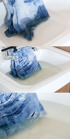 Now i know what to do with my daughters ripped jeans.TUTORIAL - Old Jeans to Distressed Ombre Denim Shorts(Diy Ropa Hombre) Do It Yourself Jeans, Do It Yourself Fashion, Ropa Upcycling, Sewing Hacks, Sewing Projects, Fun Projects, Diy Shorts, Diy Jeans, Bleached Jeans