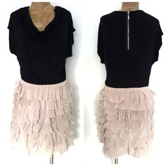 INC Dress Size Large Tiered Ruffle Mini Silk Party BOHO Career International #INCInternationalConcepts #Sheath #LittleBlackDress