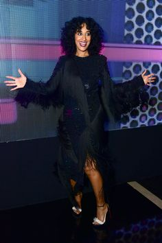 """The American Music Awards isn't necessarily the most glamorous award show of the season, but Tracee Elli Ross made us see things a bit differently on Sunday night. While hosting the star-studded event, the """"Black-ish"""" actress debuted a dizzying array of fashion that left us speechless. From over-the-top gilded gowns to iconic looks straight from the closet of her legendary mother Diana Ross -- here's a look at every single moment of slayage."""