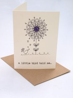 a little bird told me. via Etsy. Cool Cards, Diy Cards, Birthday Card Drawing, Hand Drawn Cards, Handmade Birthday Cards, Diy Birthday, Greeting Cards Birthday, Button Cards, Card Companies