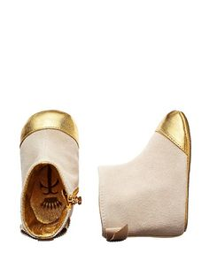 Metallic suede booties for little ones :)