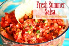 Fresh Summer Salsa via A Rosie Sweet Home - grab a bag of chips and whip up this fresh salsa to taste summer!