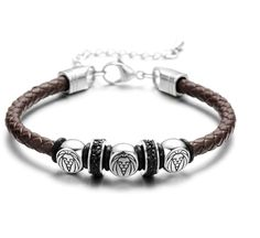 REAMOR Stainless Steel King of The Forest Lion Men Bracelets Braided Leather Rope with Adjustable Chain Bangle Male Jewelry Cheap Charm Bracelets, Bracelets For Men, Fashion Bracelets, Fashion Jewelry, Bracelet Clasps, Bangle Bracelets, Bangles, Charm Jewelry, Male Jewelry