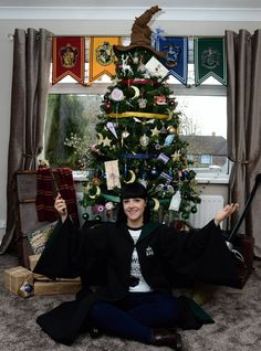 Dated: 25/11/2016. Kathryn Burnett, from Seaham, County Durham, whose Harry Potter inspired Christmas Tree, complete with special ornaments, has caught the eye of creator JK Rowling.