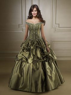 Cheap Olive Green Off The Shoulder Beading Prom Dress